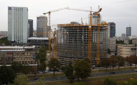 A general view of the construction site of the Warsaw Spire office skyscraper is pictured in Warsaw August 19, 2013. REUTERS/Kacper Pempel