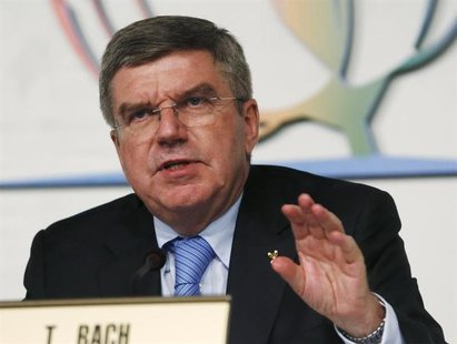 International Olympic Commitee (IOC) newly elected President Thomas Bach holds a news conference in Buenos Aires September 10, 2013. REUTERS