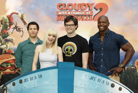 "(L-R) Andy Samberg, Anna Faris, Bill Hader and Terry Crews, voice talents from the new Sony Pictures Animation film ""Cloudy with a Chance of"