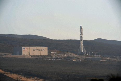 A SpaceX upgraded Falcon 9 rocket undergoes launch preparations at Vandenberg Air Force Base in California September 27, 2013. REUTERS/Gene