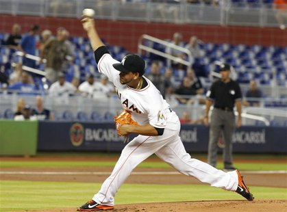 Miami Marlins starting pitcher Henderson Alvarez throws against the Los Angeles Dodgers in the first inning during their MLB National League