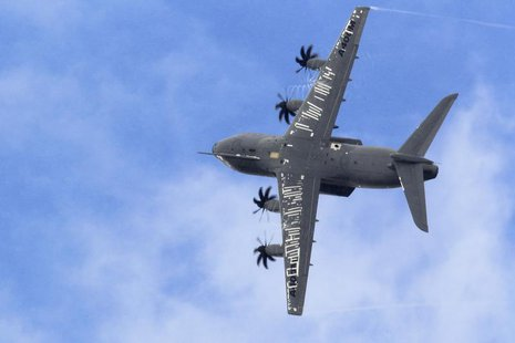 An Airbus A400M military aircraft participates in a flying display during the 50th Paris Air Show at the Le Bourget airport near Paris, June