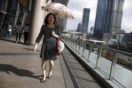 A woman walks with her pet dog at Lujiazui financial district of Pudong in Shanghai September 30, 2013. REUTERS/Aly Song