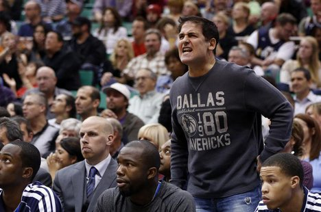 Dallas Mavericks owner Mark Cuban argues a call during the second half of their NBA basketball game against the Utah Jazz in Salt Lake City,