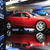 A Mazda 6 is seen on display during the preparations for the Moscow International Automobile Salon August 29, 2012. REUTERS/Sergei Karpukhin