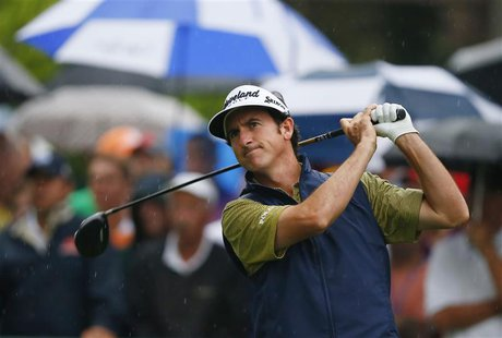 Spain's Gonzalo Fernandez-Castano tees off on the 10th hole during the second round of the 2013 PGA Championship golf tournament at Oak Hill