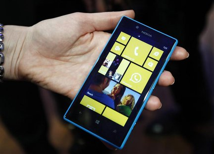 The new Nokia Lumia 520 is pictured during the Mobile World Congress in Barcelona February 25, 2013. REUTERS/Gustau Nacarino