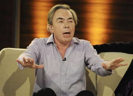 "Composer Andrew Lloyd Webber speaks during the German game show ""Wetten Dass"" (Bet it...?) in Salzburg, March 27, 2010. REUTERS/Kerstin Joen"
