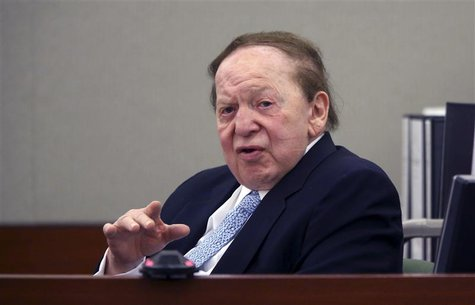 Las Vegas Sands Corp Chairman and Chief Executive Sheldon Adelson testifies on the witness stand at the Regional Justice Center in Las Vegas