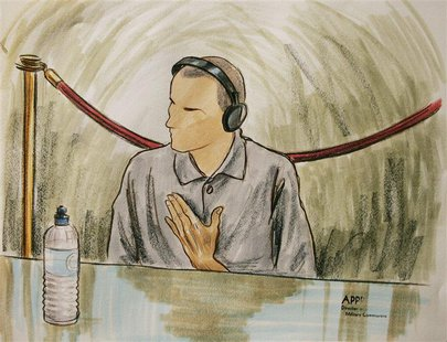 In this courtroom illustration, Ali Hamza Ahmad Sulayman al Bahlul appears before a military commission at Guantanamo Naval Base August 26,