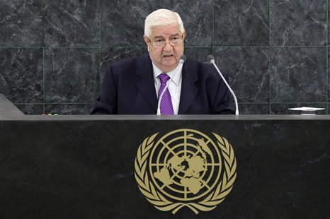 Syrian Foreign Minister Walid al-Moualem addresses the 68th session of the United Nations General Assembly in New York September 30, 2013. R