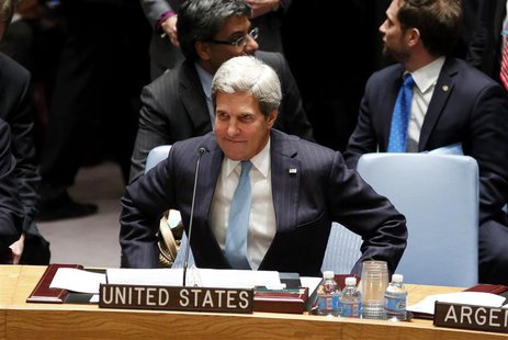 U.S. Secretary of State John Kerry takes his seat moments before the United Nations Security council voted unanimously in favor of a resolut
