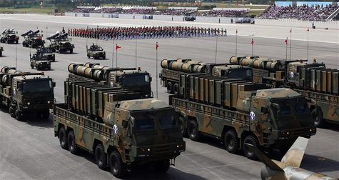 South Korea's new cruise missiles Hyunmoo-3 and Hyunmoo-2 are displayed during events to mark the 65th anniversary of Armed Forces Day, at a