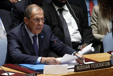 Russian Foreign Minister Sergei Lavrov speaks to the United Nations Security Council after it unanimously voted in favor of a resolution era