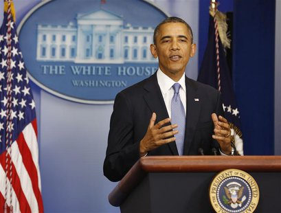 U.S. President Barack Obama makes a statement to the press in the briefing room of the White House in Washington September 30, 2013. REUTERS