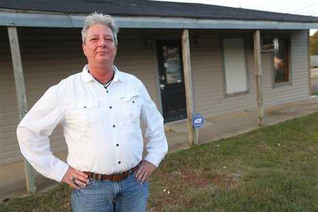 "Pat ""P.J."" Newton stands in front of the building she is leasing in Shannon, Mississippi September 30, 2012. REUTERS/Lauren Wood"