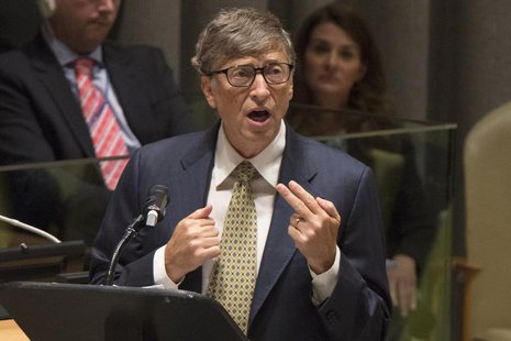 Microsoft founder Bill Gates speaks during the Millennium Development Goals event on the sidelines of the United Nations General Assembly, a