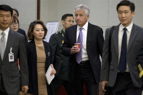 U.S. Secretary of Defense Chuck Hagel (2nd R) arrives at the 45th Security Consultative Meeting at Defence Ministry in Seoul, October 2, 201