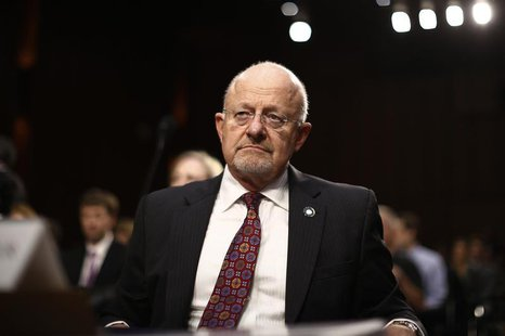 U.S. Director of National Intelligence James Clapper reacts as he testifies at a Senate Intelligence Committee hearing the Foreign Intellige