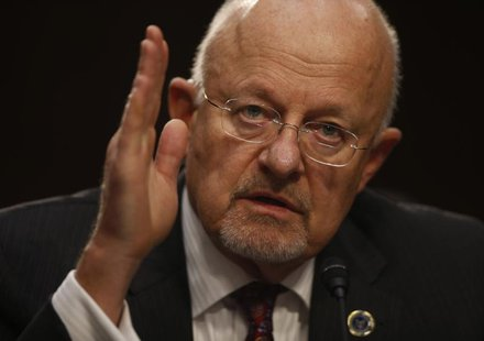 Director of National Intelligence James Clapper testifies at a Senate Intelligence Committee hearing the Foreign Intelligence Surveillance A