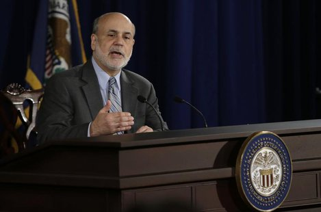 U.S. Federal Reserve Board Chairman Ben Bernanke holds a news conference following the Fed's two-day Federal Open Market Committee (FOMC) me