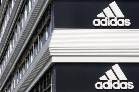 File photo of Adidias logos on the company's building in Landersheim near Strasbourg March 31, 2009. REUTERS/Christian Hartmann/Files