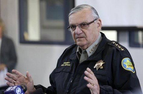 Maricopa County Sheriff Joe Arpaio addresses the media about a simulated school shooting in Fountain Hills, Arizona, February 9, 2013. REUTE
