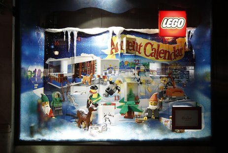 Lego toys are seen on display in the window of Hamleys toy shop in London, December 2, 2011. REUTERS/Luke MacGregor