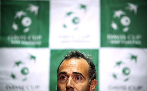 Team Spain's head coach Alex Corretja attends a news conference before the Davis Cup tennis tournament in Vancouver, British Columbia Januar