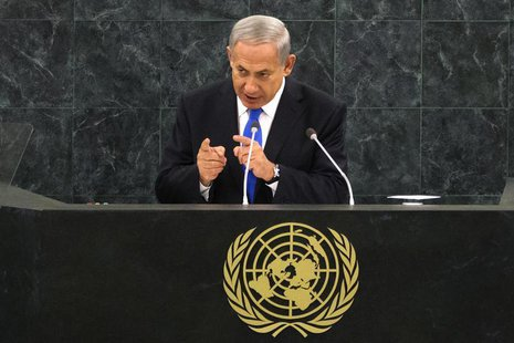 Israel's Prime Minister Benjamin Netanyahu addresses the 68th session of the United Nations General Assembly in New York October 1, 2013. RE