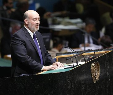 Israeli Ambassador to the United Nations Ron Prosor addresses the United Nations General Assembly during a meeting at U.N. Headquarters, in