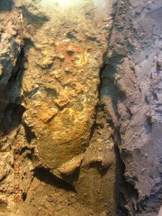 Corroded and buckled piling of Pier 22 of the Leo Frigo Bridge (Photo by: Wisconsin DOT).