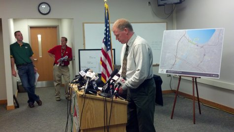 Wisconsin DOT Northeast Region Director Will Dorsey updating the media on the investigation into the dip in the Leo Frigo Bridge on October 3, 2013. (Photo by: WTAQ Reporter Jeff Flynt).