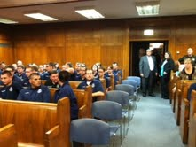 A packed Circuit Court 1 gather to watch the State Supreme Court conduct business in the Sheboygan County Courthouse.
