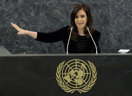 Argentina's President Cristina Fernandez addresses the 68th United Nations General Assembly at UN headquarters in New York September 24,2013