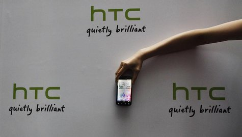 A new HTC Android-based smartphone Sensation is displayed during a news conference for the launch of the product in Taipei May 27, 2011. REU