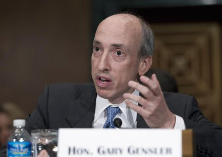 Commodity Futures Trading Commission Chair Gary Gensler testifies at a Senate Banking, Housing and Urban Affairs Committee hearing on Capito