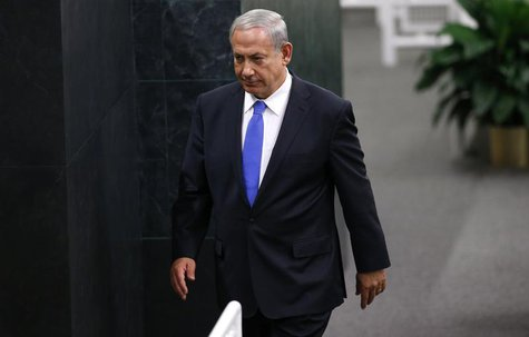 Israel's Prime Minister Benjamin Netanyahu walks from the podium after delivering his address to the 68th United Nations General Assembly at