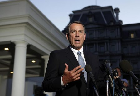 U.S. House Speaker John Boehner (R-OH) speaks to the media following his meeting with U.S. President Barack Obama, outside the West Wing of