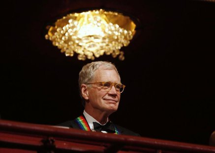 Late-night TV talk show host David Letterman is pictured on the balcony at the 2012 Kennedy Center Honors at the Kennedy Center in Washingto