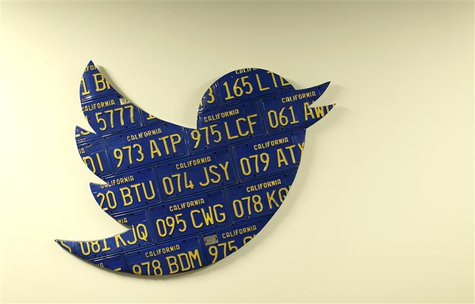 A Twitter logo made from Californian license plates is shown at the company's headquarters in San Francisco, California October 4, 2013. REU