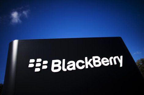 The company logo is see at the Blackberry campus in Waterloo, in this September 23, 2013 file photo. REUTERS/Mark Blinch/ Files