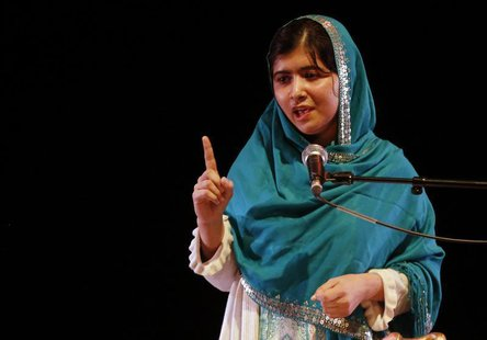 Pakistan's Malala Yousafzai gives a speech after receiving the RAW (Reach All Women) in War Anna Politkovskaya Award at the Southbank Centre