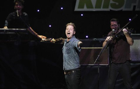 Ryan Tedder, lead singer of pop rock band OneRepublic, performs at KIIS FM's Jingle Ball concert in Los Angeles, California December 1, 2012