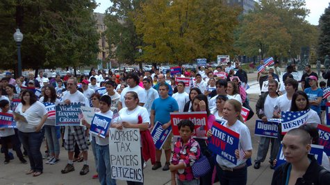 Kalamazoo hosted one of dozens of similar marches staged around the country on Saturday to urge Congress to approve Immigration Reforms.