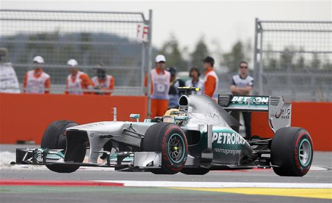 Mercedes Formula One driver Lewis Hamilton of Britain races during the Korean F1 Grand Prix at the Korea International Circuit in Yeongam, O