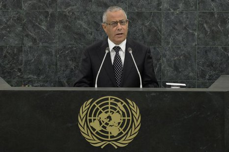 Libyan Prime Minister Ali Zeidan speaks at the 68th United Nations General Assembly in New York, September 25, 2013. REUTERS/Andrew Burton/P