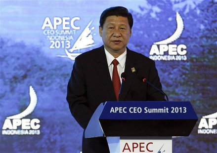 China's President Xi Jinping speaks at the Asia-Pacific Economic Cooperation (APEC) CEO Summit in Nusa Dua, on the Indonesian resort island