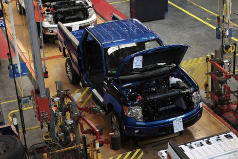A 2014 Ford F-150 pick-up truck moves down the assembly line at the Ford Motor Dearborn Truck Plant in Dearborn, Michigan September 16, 2013