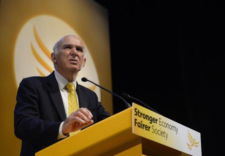 Britain's Business Secretary Vince Cable speaks at the Liberal Democrats autumn conference in Glasgow, Scotland September 16, 2013. REUTERS/
